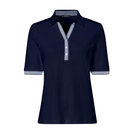 Olsen Moasic Print Polo Shirt Blue  - Click to view a larger image
