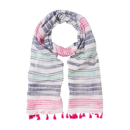 Olsen Stipe Linen Scarf Blue  - Click to view a larger image