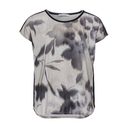 Monari Blurred Floral Print Top Grey  - Click to view a larger image