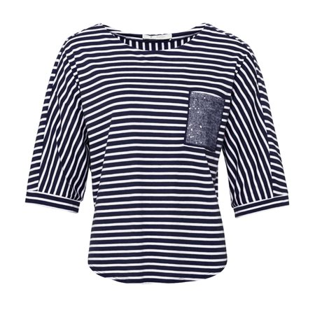 Monari Striped Top With Sequin Pocket Navy  - Click to view a larger image