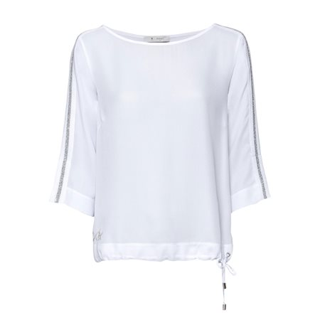Monari Loose Fit Top With Drawstring Hem White  - Click to view a larger image