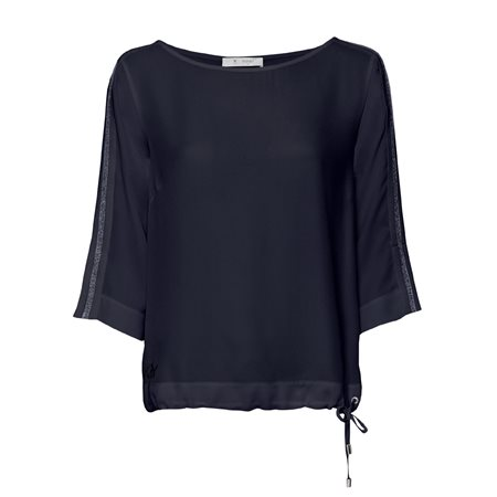 Monari Loose Fit Top With Drawstring Hem Navy  - Click to view a larger image