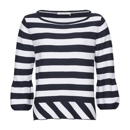 Monari Striped Top With Flared Cuffs Navy  - Click to view a larger image