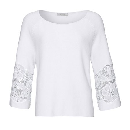 Monari Embroided Knit Jumper White  - Click to view a larger image