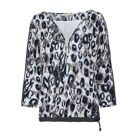 Monari Animal Print Pullover With Zip Neckline Navy  - Click to view a larger image
