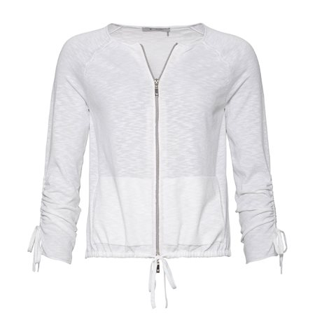 Monari Zipped Cardigan With Ruched Sleeves White  - Click to view a larger image