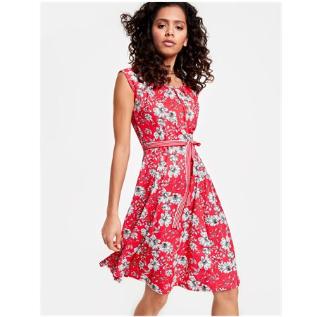 Taifun Floral Print Summer Dress Red  - Click to view a larger image