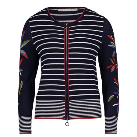 Betty Barclay Striped Zipped Cardigan Dark Blue  - Click to view a larger image