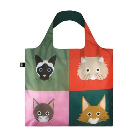 Loqi Stephen Cheetham Cats Bag Green  - Click to view a larger image
