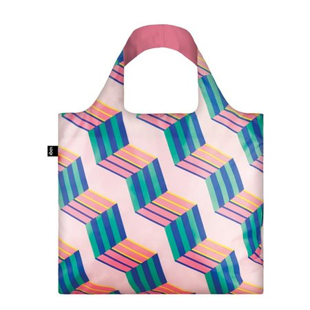 Loqi Geometric Cubes Bag Pink  - Click to view a larger image