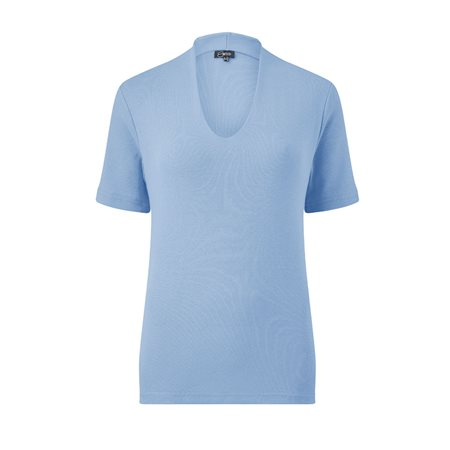 Emreco Short Sleeve High Neck Top Blue  - Click to view a larger image