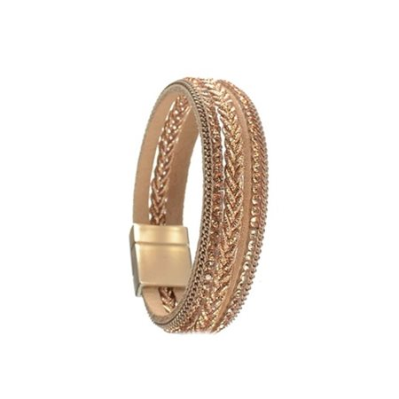 Hot Tomato Triple Row Braided Bracelet Gold  - Click to view a larger image
