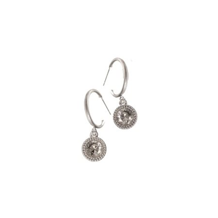 Hot Tomato Classic Drop Off Ear Rings Silver  - Click to view a larger image