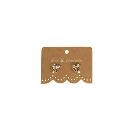 Hot Tomato Heart Crystal Studs Gold  - Click to view a larger image