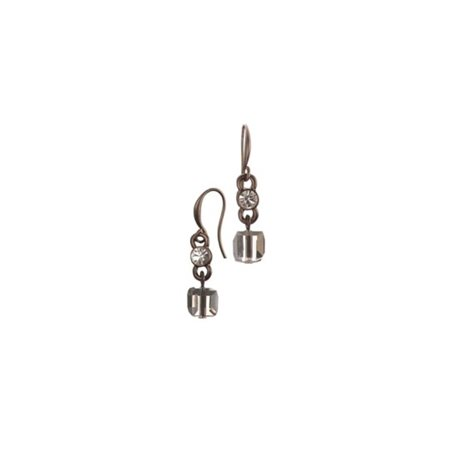 Hot Tomato Crystal Cube Hook Ear Rings Copper  - Click to view a larger image