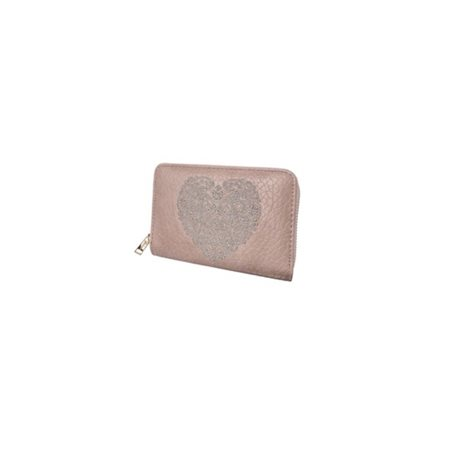Hot Tomato Embroidered Heart Purse Blush  - Click to view a larger image