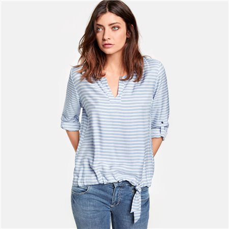 Taifun Stripe Blouse With Tie Detail Blue  - Click to view a larger image