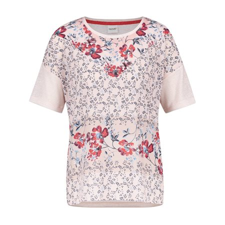 Taifun Jersey Floral Print Top Pink  - Click to view a larger image