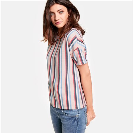 Taifun Structured Shirt With Stripe Design Pink  - Click to view a larger image