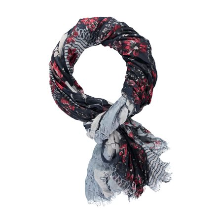 Taifun Floral Print Scarf Black  - Click to view a larger image