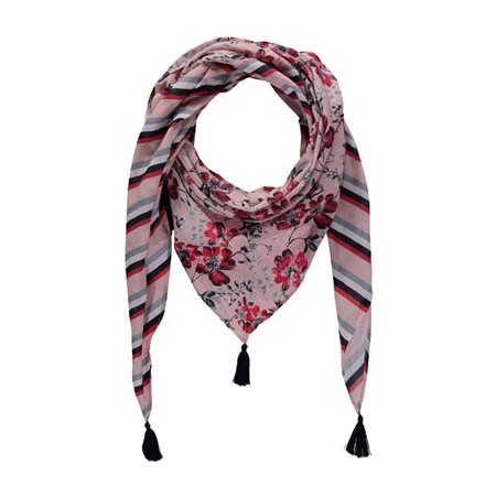 Taifun Stipe Flower Scarf Red  - Click to view a larger image