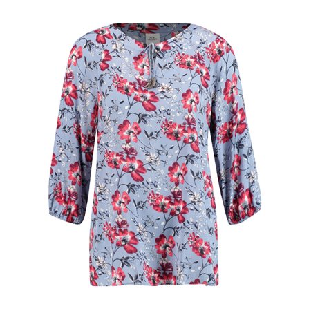 Taifun Floral Top With Tie Detail Blue  - Click to view a larger image