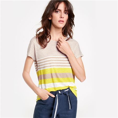 Gerry Weber Striped Linen Top Yellow  - Click to view a larger image