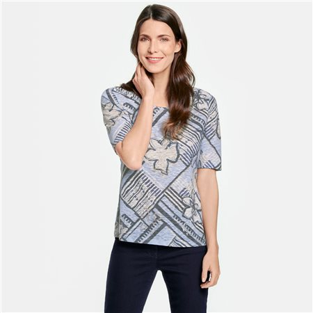 Gerry Weber Patchwork Patterned Top Blue  - Click to view a larger image