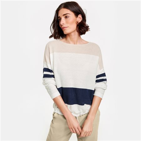 Gerry Weber Block Striped Jumper Beige  - Click to view a larger image
