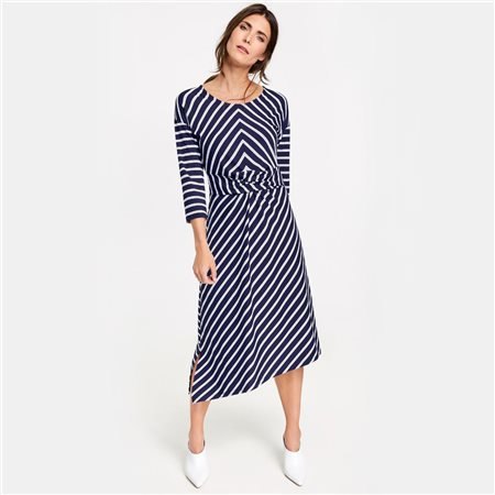 Gerry Weber Striped Dress With Knot Detai Blue  - Click to view a larger image