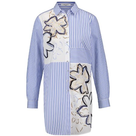 Gerry Weber Striped Floral Patchwork Shirt White  - Click to view a larger image
