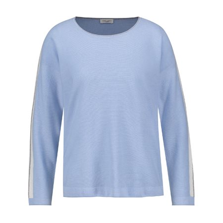 Gerry Weber Striped Roundneck Pullover Light Blue  - Click to view a larger image