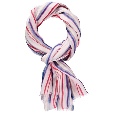 Taifun Colourful Striped Scarf Cream  - Click to view a larger image