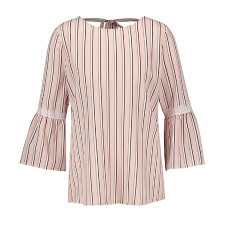 Taifun Striped Trumpet Sleeve Blouse Pink  - Click to view a larger image