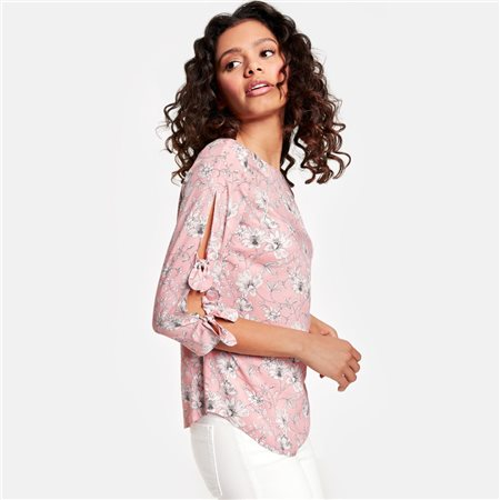 Taifun Bow Detailed Floral Blouse Pink  - Click to view a larger image