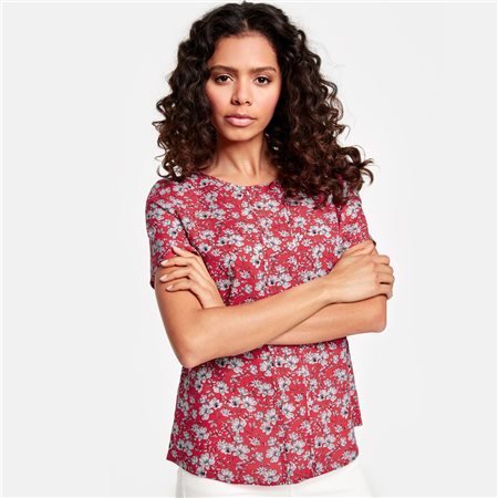 Taifun Floral Print Blouse Red  - Click to view a larger image