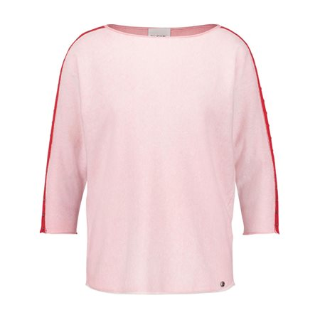Taifun 3/4 Length Jumper With Striped Sleeve Pink  - Click to view a larger image