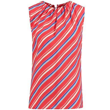 Taifun Striped Sleeveless Top Red  - Click to view a larger image