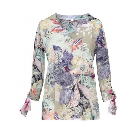 Erfo Pastel Floral Print Blouse Purple  - Click to view a larger image