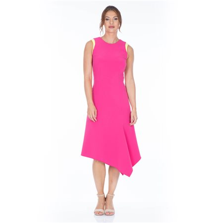 Mellaris Back V Neck Detailed Summer Dress Pink  - Click to view a larger image