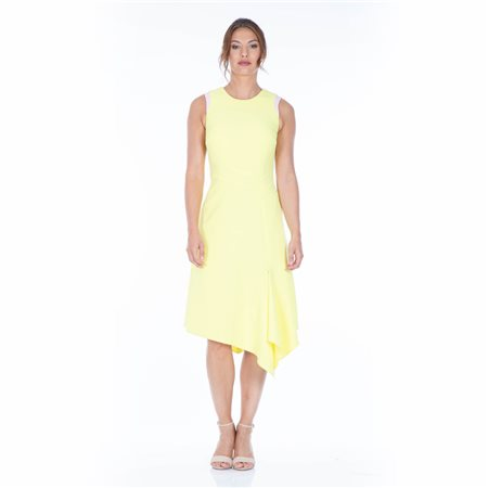 Mellaris Back V Neck Detailed Summer Dress Yellow  - Click to view a larger image