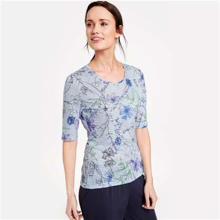Gerry Weber Flower Stripe Print Top Blue  - Click to view a larger image