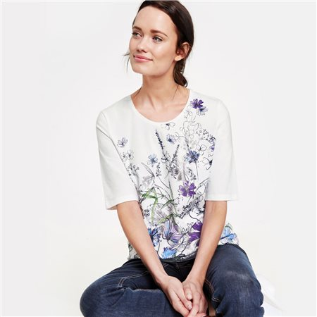 Gerry Weber Floral Organic Cotton Top White  - Click to view a larger image