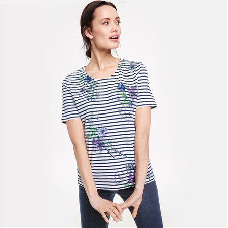 Gerry Weber Stripe Flower Top Blue  - Click to view a larger image