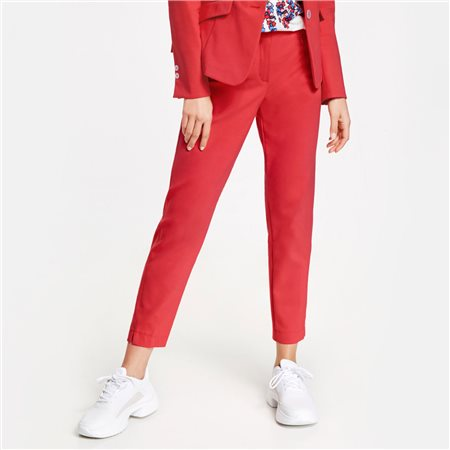 Gerry Weber Cropped Trousers With Pressed Pleats Red  - Click to view a larger image