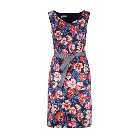 Gerry Weber Floral Dress With Belt Tie Blue  - Click to view a larger image