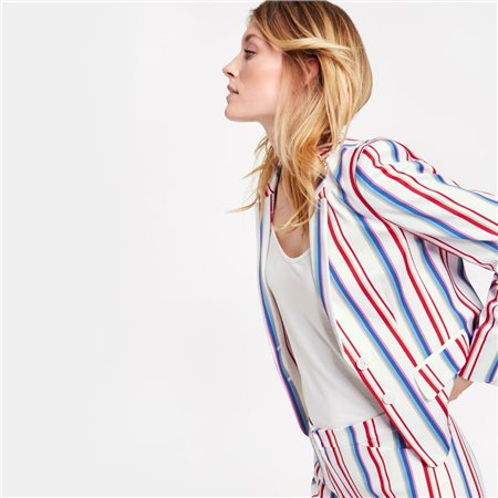 Taifun Modern Striped Blazer Cream  - Click to view a larger image