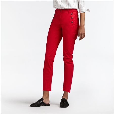 Sandwich High Waist Skinny Crop Trouser Red  - Click to view a larger image