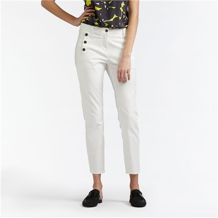 Sandwich High Waist Skinny Crop Trouser White  - Click to view a larger image