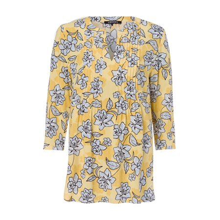 Olsen Pleated Floral Print Blouse Yellow  - Click to view a larger image